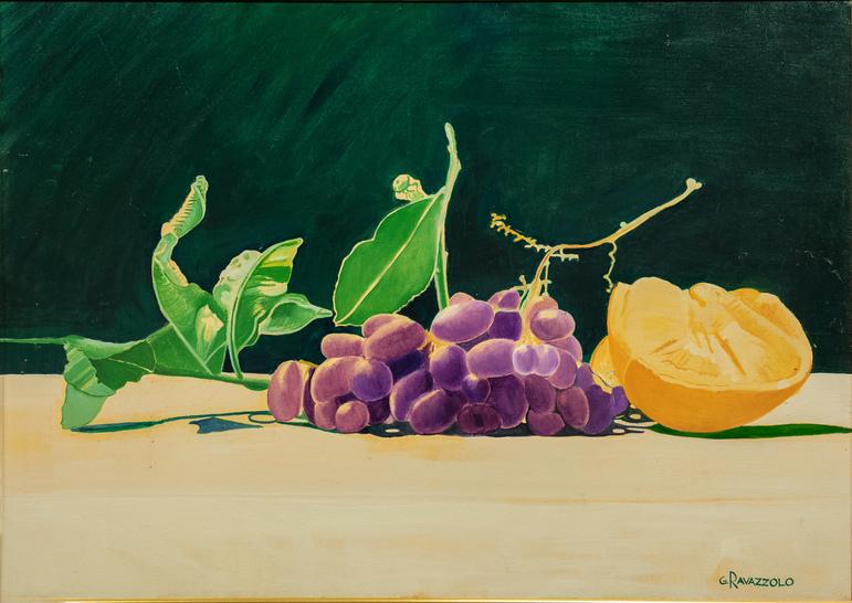 Giorgio Ravazzolo, Natura morta con arancia, 2000, acrilico su tela, cm 70 x 50