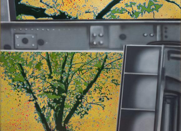 Giacomo Spadari, Struttura e albero, 1972, acrilico su tela, cm 100 x 100