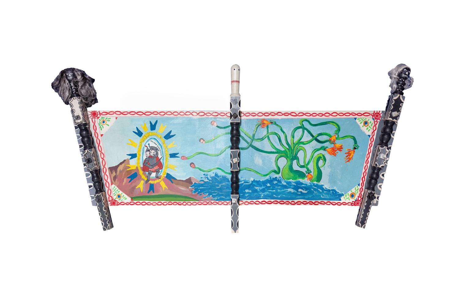Laboratorio Saccardi, Cosa Mostra, 2010, acrilico su masciddaru (legno), cm 150 x 50, dipinto su 2 lati