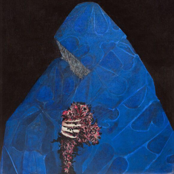 Arturo Carmassi, La menzogna 2 – figura col manto blu, 1969, olio su tela, cm 70 x 70
