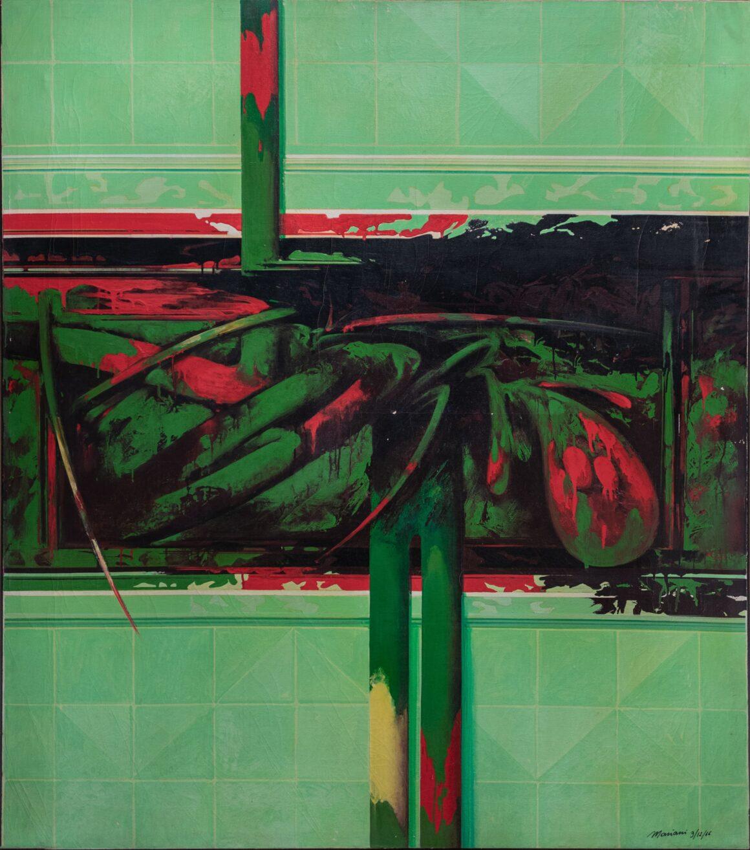 Umberto Mariani, Tre vegetali, 1966, olio e smalto su tela, pastello rosso, cm 120 x 140